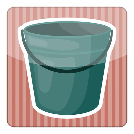tare: Bucket colorful icon. Empty bucket vector illustration icon
