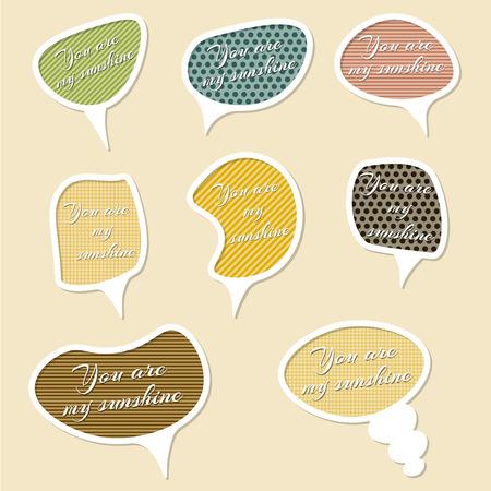feedback label: Love messages bubble set. Set of retro comic  speech bubbles Illustration