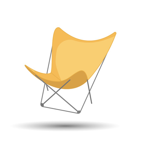 reclining: Beach chair colorful icon. Vector colorful illustration