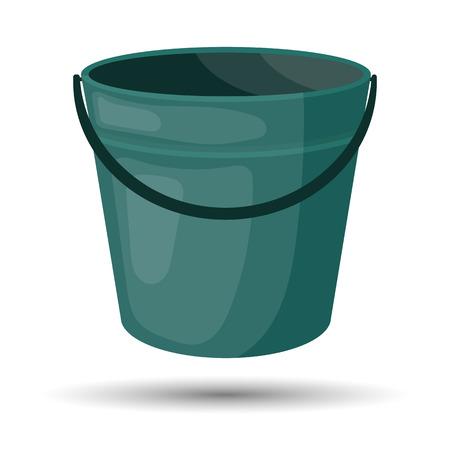 bin tub: Bucket colorful icon. Empty bucket vector illustration icon