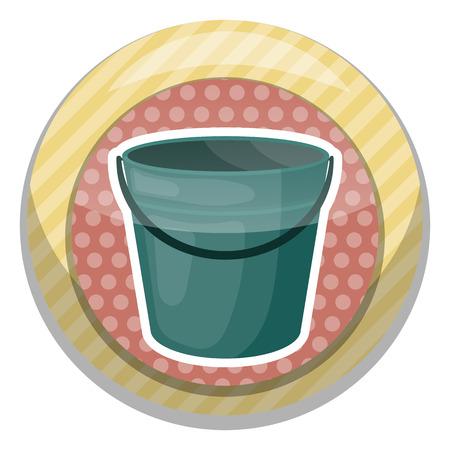 yard stick: Bucket colorful icon. Empty bucket vector illustration icon