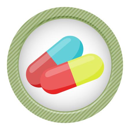 pilule: Colored vitamin pills icon medical drugs cartoon vector illustration