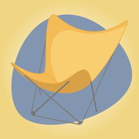 Beach chair colorful icon. Vector colorful illustration