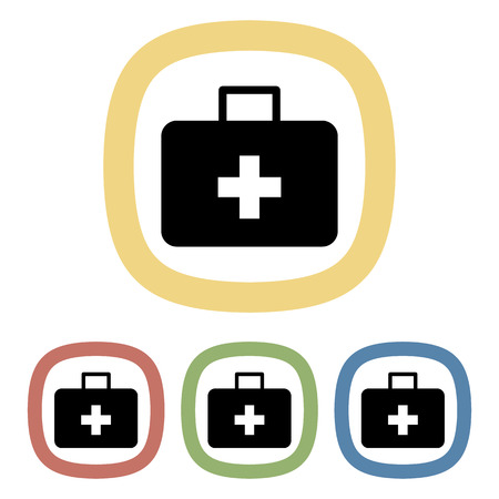 firstaid: Medicine chest colorful icon. Vector illustration of medicine chest set