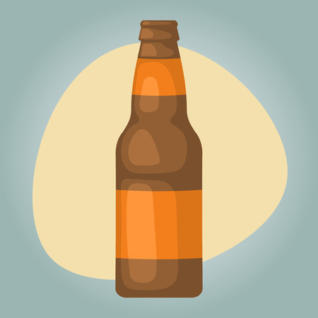 limpid: Beer bottle colorful icon. Vector illustration of bottle