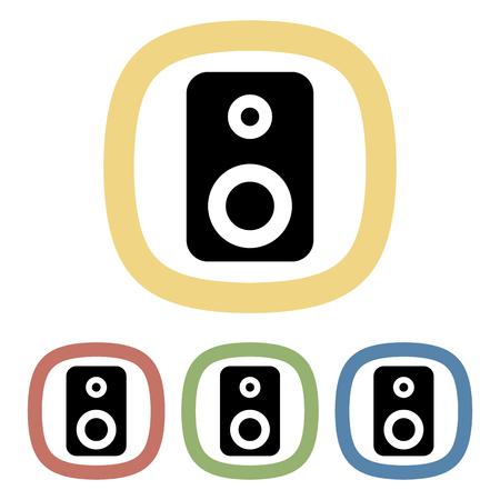 tercet: Speaker colorful icon. Set of speaker icons Illustration