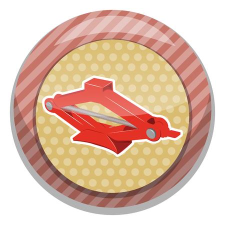 threaded: Car jack icon. Car jack service equipment