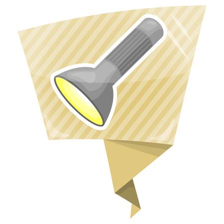 lighten: Flashlight colorful icon. Vector illustration in cartoon style