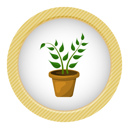 potting soil: Indoor plant colorful icon. Vector illustration in cartoon style