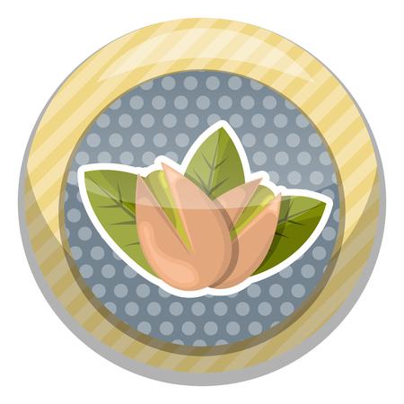 pistachios: Pistachios colorful icon. Vector illustration in cartoon style Illustration
