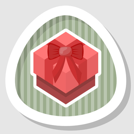 red gift box: Red gift box colorful icon. Vector illustration in cartoon style