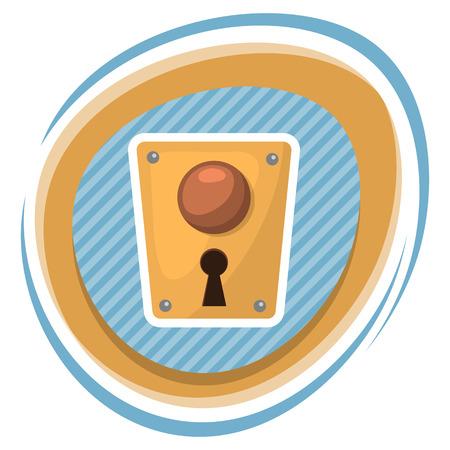 key of paradise: Lock colorful icon. Vector illustration in cartoon style Illustration