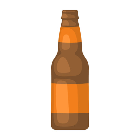 intoxication: Beer bottle colorful icon. Vector illustration of bottle