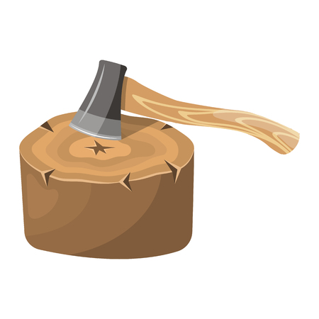 sawed: Stump colorful icon. Vector illustration in cartoon style