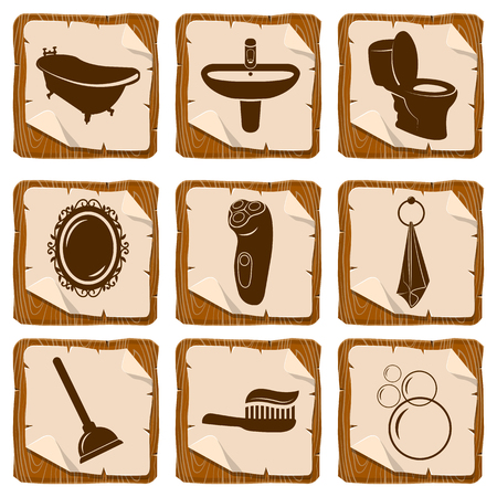 tissues: Set of bathroom icons on wood squares Illustration