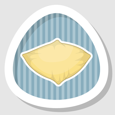 headboard: Pillow colorful icon. Vector illustration in cartoon style
