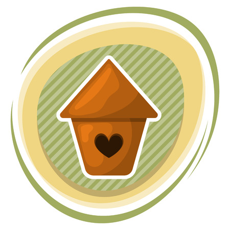nesting box: Nesting box colorful icon. Vector illustration in cartoon style Illustration