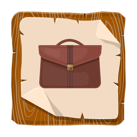 briefcase icon: Vector single colorful briefcase icon an a brown background