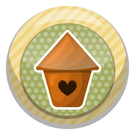 grass close up: Nesting box colorful icon. Vector illustration in cartoon style Illustration