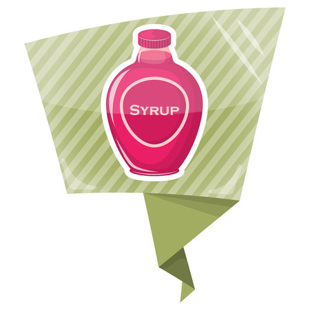 Syrup colorful bottle. Vector illustration in cartoon style