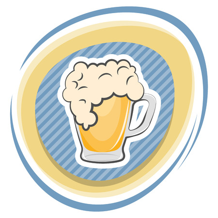 naturalistic: Mug of beer colorful icon. Vector illustration in cartoon style