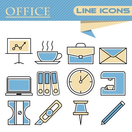 shredder machine: Set of line modern color icons for office Illustration