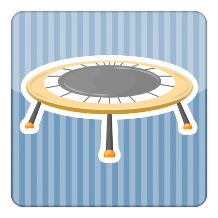 trampoline: Trampoline icon. Vector illustration in cartoon style