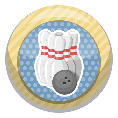 sphere standing: Bowling colorful icon. Vector illustration in cartoon style