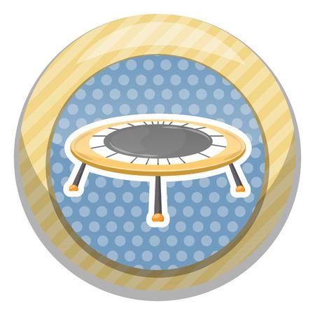 recess: Trampoline icon. Vector illustration in cartoon style