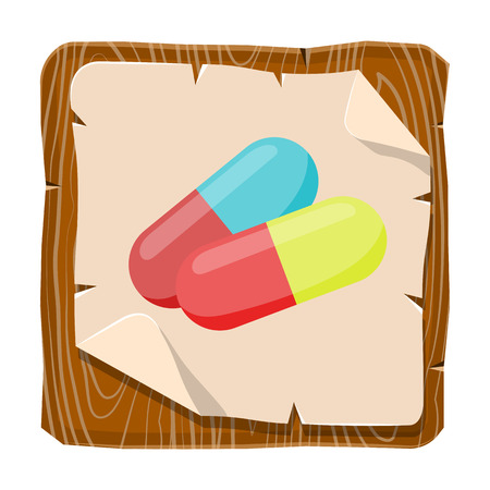 vitamin pills: Colored vitamin pills icon medical drugs cartoon vector illustration