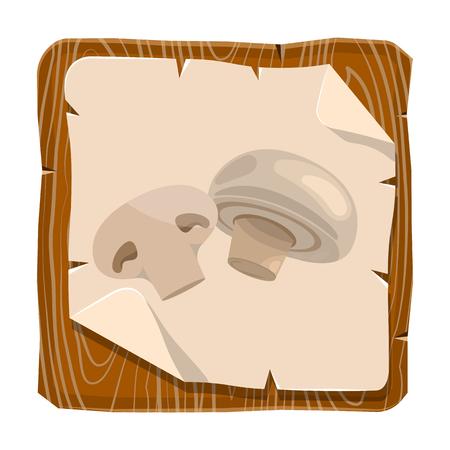 champignon: Champignon colorful icon. Fresh champignon mushroom vector illustration Illustration