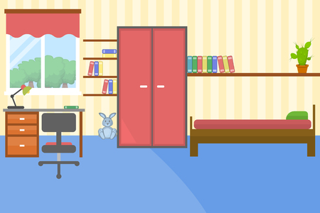Vector illustration of colorful children room in flat style Illustration