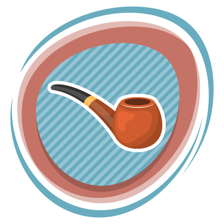 chrome man: Pipe tobacco colorful icon. Vector illustration in cartoon style