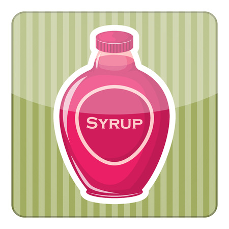 sap: Syrup colorful bottle. Vector illustration in cartoon style