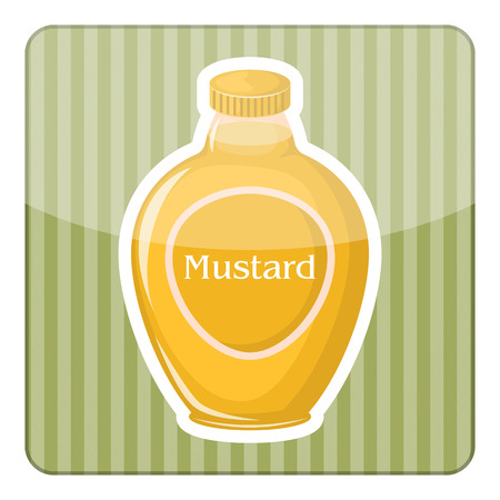 savoury: Mustard colorful icon. Vector illustration in cartoon style Illustration