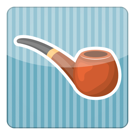 inhale: Pipe tobacco colorful icon. Vector illustration in cartoon style