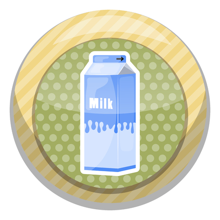 pinta: Milk pack colorful icon. Vector illustration in cartoon style