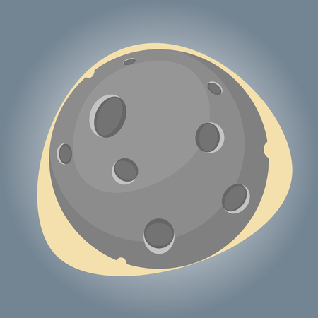 astrophoto: Moon colorful icon. Vector illustration in cartoon style