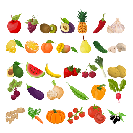 Collection of colorful vector illustrations of fruits and vegetables Ilustracja