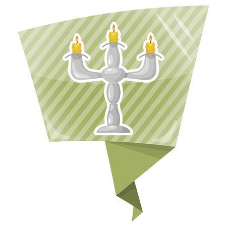 hanuka: Candlestick colorful icon. Vector illustration in cartoon style Illustration