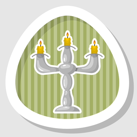 candelabrum: Candlestick colorful icon. Vector illustration in cartoon style Illustration