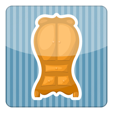 open shirt: Cupboard icon. Vector illustration in cartoon style