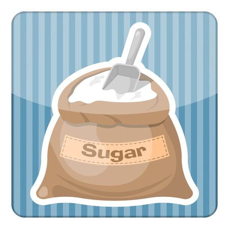 the miller: Sugar bag icon. Vector illustration in cartoon style Illustration