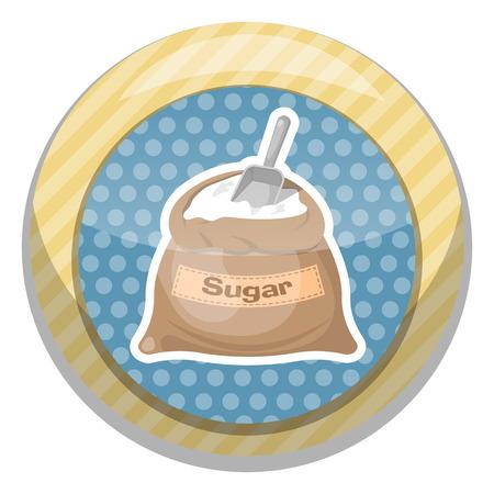 bagful: Sugar bag icon. Vector illustration in cartoon style Illustration