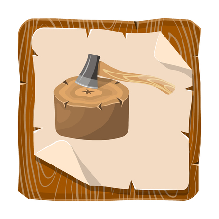 woodsman: Stump colorful icon. Vector illustration in cartoon style