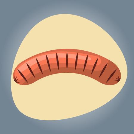 carne asada: salchicha a la parrilla colorido icono. Ilustración del vector en estilo de dibujos animados