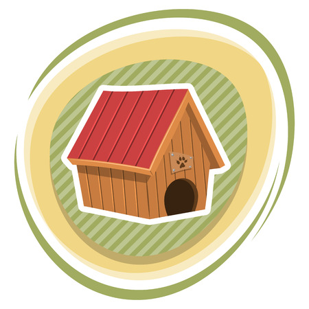 doghouse: Doghouse colorful icon. Vector illustration in cartoon style Illustration
