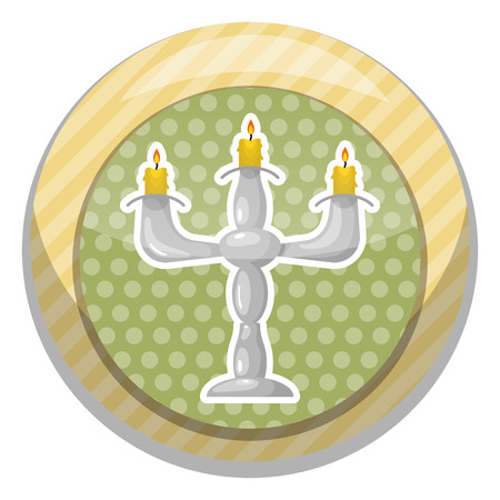jewish home: Candlestick colorful icon. Vector illustration in cartoon style Illustration