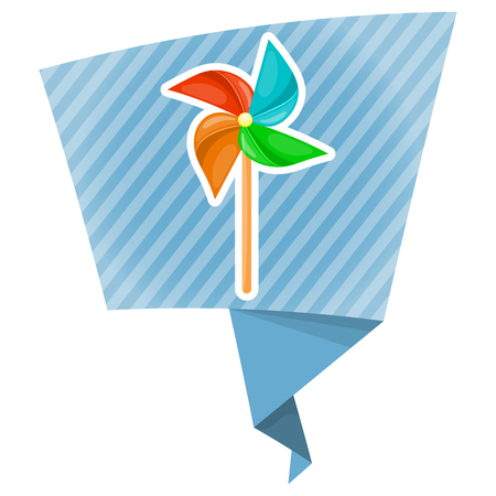 windmill toy: Vector illustration in cartoon style. Paper windmill pinwheel