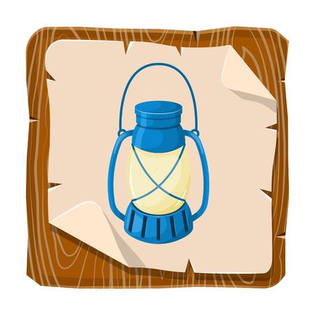 oldened: Kerosene lamp icon. Vector illustration in cartoon style